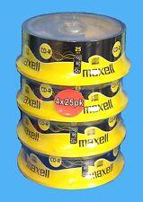 4x25 Mochila CDR Maxell Blanco Discos CD-R GRABABLE CD 80 minutos 52x 700mb-100