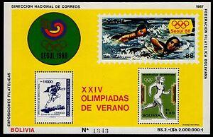 BOLIVIA, MICHEL # BLK166 MINI SHEET OF XXIV OLIMPIADAS DE VERANO, OLYMPIC GAMES