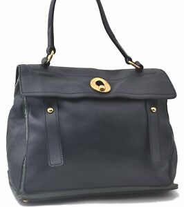 Authentic YVES SAINT LAURENT Muse two Hand Bag Leather Navy Green C5856