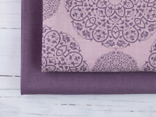 0,5 m Mandala Leinen Stoff bedruckt, Vorgewaschen,  Alte Rosa, Lavendel