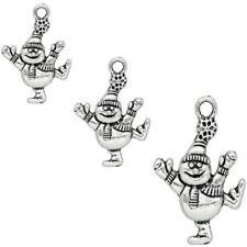 10 x Tibetan Silver Snowman Christmas Pendant Charms Xmas 30mm