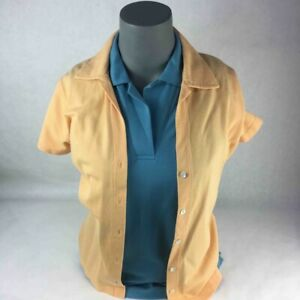 Loro Piana 2 Womens Tops Blue Pullover Yellow Button Up Short Sleeves Italy 42