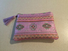 PALE PINK/LILAC MAKE UP BAG..INDIAN STYLE PRINT..BRAND NEW..
