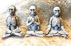 BRAND NEW SET OF 3 HALLOWEEN ZEN YOGA MEDITATING SKELETONS FIGURINES TABLE DECOR