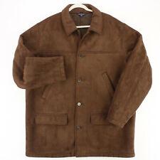 LANDS' END Microsuede Brown Fleece Lined Button OVERCOAT JACKET Men's XL 46 48