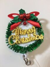 CHRISTMAS Wreath Green Red Gold Retractable ID Badge Reel Key Card Holder