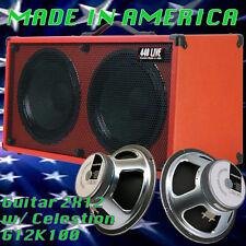 2x12 Guitar Spkr Cabinet Fire hot Red Tolex Celestion G12K100 Speakers G2X12SL