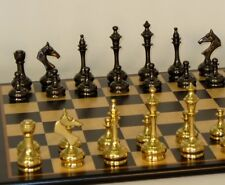 "SLIM SOLID BRASS CHESS SET - BIRDSEYE MAPLE BOARD 17¼"" - K=3¼  (ww 37bss-bbm)"