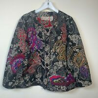 Lifestyle Woman Funky Colorful Embroidery on Tapestry Jacket Size 1X