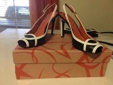 Via Spiga, Black and White Slingback, Peep Toe, 4 Inch Heel, Gorgeous! Size 6.5M