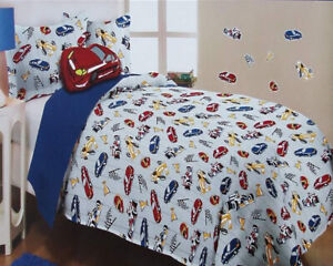 CAR RACING GRAY TWIN COMFORTER PILLOWSHAM THROWPILLOW 3PC BEDDING SET NEW