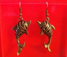 Boucles d'oreilles bronze dauphin 43x20mm