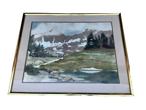 California Mission  Snow Mountain Watercolor Frame 37*29 Patricia Short