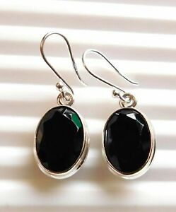 """5.60 Gm 925 Solid Sterling Silver Natural Black Onyx Cut Earring 1.25"""" K-1353"""