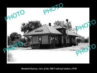 OLD LARGE HISTORIC PHOTO OF HUMBOLT KANSAS, THE MKT RAILROAD STATION c1950