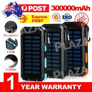 300000mAh Portable Solar Panel Dual USB External Battery Power Bank Pack Charger