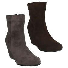 £9.99 WOMENS LADIES F50029 ZIP UP CASUAL SUEDE HIGH WEDGE ANKLE BOOTS SPOT ON