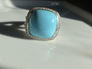 David Yurman Sterling Silver 17mm turquoise Diamond Albion Ring Size 8