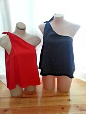 2 sportsgirl shirt tops RED & Black one shoulder off the shoulder size 16 NEW
