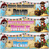 2 personalised birthday banner Pirate treasure map children kids party poster