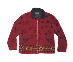 Tsunami Red Fleece Jacket Horse Pattern Southwestern Canada Made Women's L
