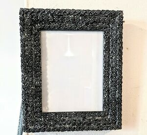 """NEW HAND EMBELLISHED BLACK + BRUSHED PEWTER SPIDERS PHOTO PICTURE FRAME 9 X 7"""""""