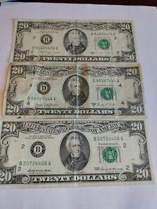 1969 1969c and 1988a $20 FEDERAL RESERVE notes Lot of 3 Ohio NY NY