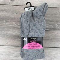 5 x George Knee High School Socks Kids Junior UK 4 - 5.5 EU 37-38.5 Grey A351-10