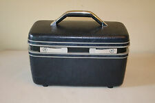 Vintage Hard Case Cosmetic Train Case Navy Blue