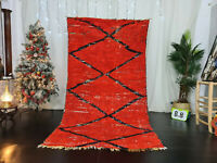 "Vintage Moroccan Tribal Handmade Rug 4'6x8'7"" Berber Red Geometric Cotton Carpet"