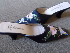 b4554766cc435 Black Satin Floral Butterfly Embroidered Mules Block Heels Sz 38