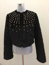 NWT $450 Michael Kors Black Soft Fur Studded Studs Coat Jacket Blazer Outwear XS