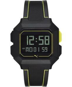 Orologio PUMA REMIX P5024 Silicone Nero Giallo Digitale Chrono Dual Time