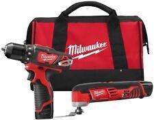 Milwaukee Cordless Drill Driver Multi-Tool Combo Kit 2-Too W/ 2-Battery Tool Bag