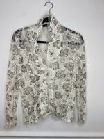 Cozy Chic Womens White Black Floral Long Sleeve Button Down Blouse Top Small