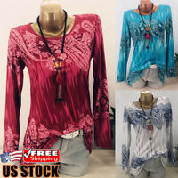 Women Boho Floral Long Sleeve Loose T Shirts Ladies Summer Casual Blouse Tops US