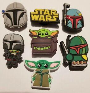 Star Wars Baby Yoda, Bobafett,  Mandalorian! 7pc Set Shoe Charms For Crocs, Clog