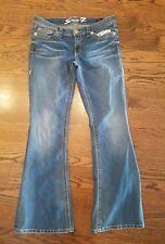 Seven 7 flare jeans 31 womens stretch low rise med wash ladies EUC SISLOU B24