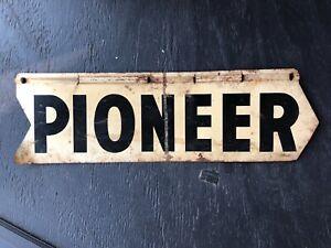 Vintage Pioneer Seed 2 Sided Metal Sign