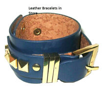 buckle bracelet gold plate navy blue adjustable wide leather quality jewelry NWT