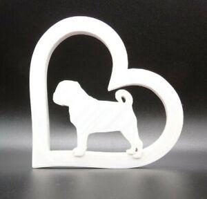 Dutch Bulldog Pug Dog in Heart Shape Home Ornament 15x15x1.5cm - Various Colours