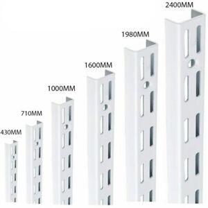Heavy duty TwinSlot Shelving White Upright & Brackets Adjustable Rack Wall Shelf
