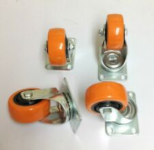 4 Pack 3 Inch Heavy Duty Urethane Swivel Plate Ball Bearing Caster Wheels