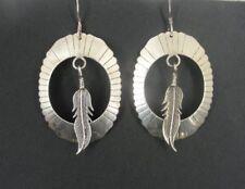 Large Feather in Open Oval Sterling 925 Silver Dangle Earrings Pierced