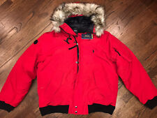 Polo Ralph Lauren Annex Faux Fur Trimmed Down Bomber Jacket Red XL