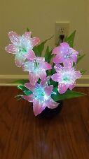 "LED Flower AC Plug - LIGHT UP PINK LILY-Fiber Optic Lights - ""Watch Video Below"""