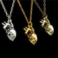 Human Anatomical Heart Pendant Necklace Silver Gold Biology Goth Emo & Gift Bag