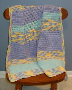 Periwinkle, Aqua, Yellow & Peach Baby Cotton Afghan / Blanket - Very Pretty!