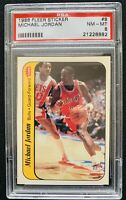 1986 Fleer Sticker Michael Jordan #8 Rookie centered - PSA 8 Chicago Bulls