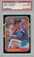 GREG MADDUX 1987 DONRUSS Chicago CUBS MLB Baseball Rated Rookie CARD #36 PSA 8